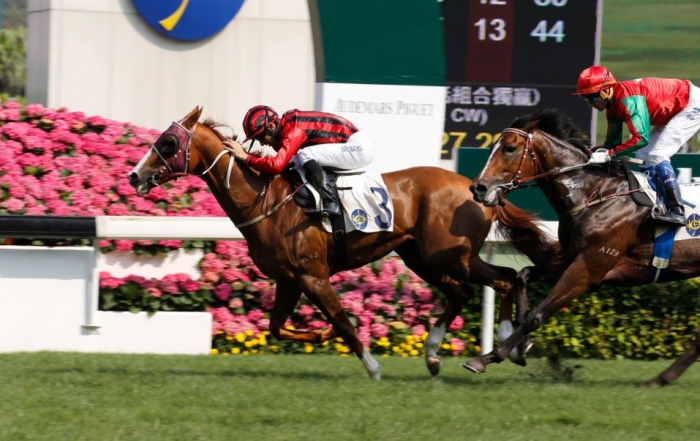 John Moore-trained Eagle Way (No. 3), with Joao Moreira on board, wins the G3 Queen Mother Memorial Cup (2400m) at Sha Tin Racecourse today